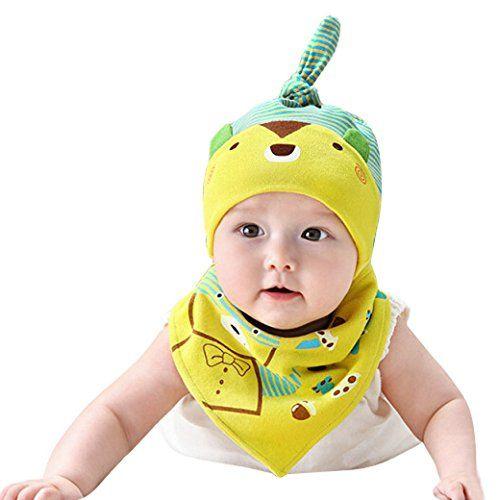 Happy Cherry Baby M�tze Schal von 2 Set Kids Unisex Winterm�tze Winterschal Cartoon Streifen Baumwolle Triangle Schal Hut Sets Scarf Hat - Gelb
