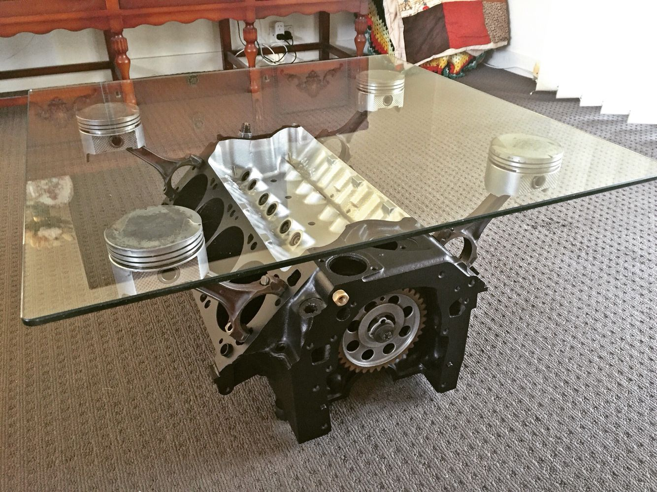 Cleveland 351w V8 Coffee Table. This Ones A Beast. Turn Over And Watch The