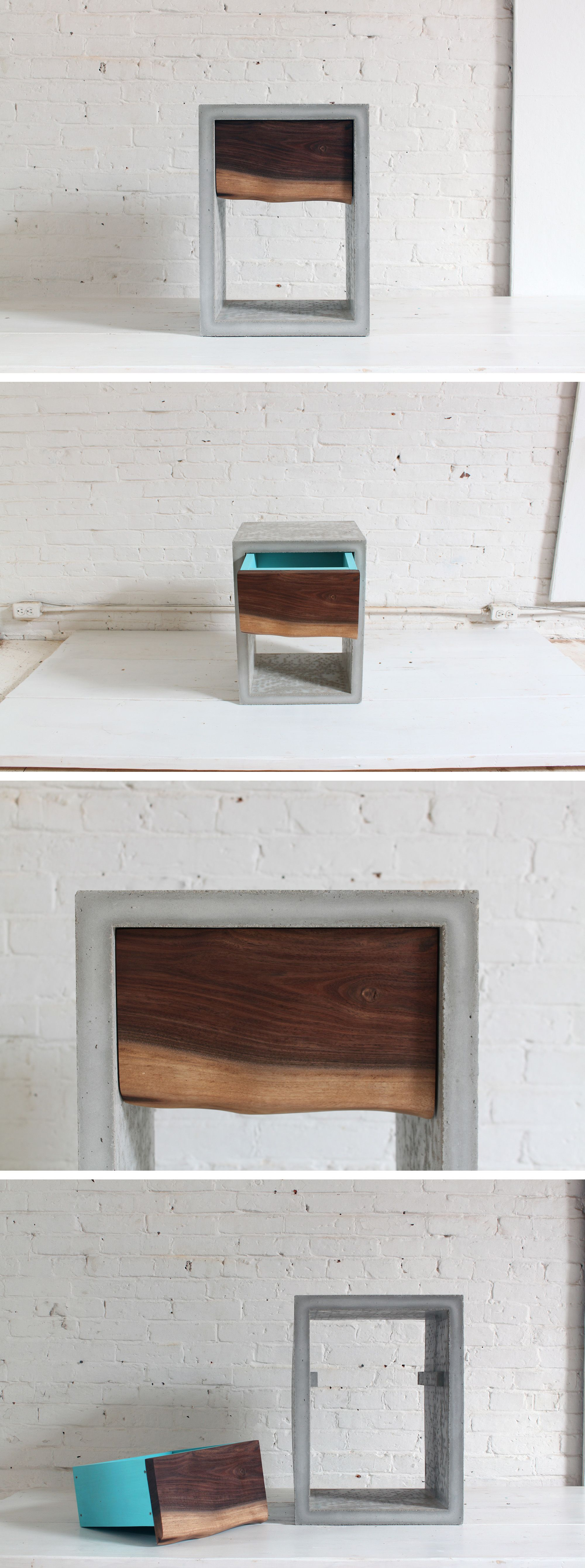 homemade modern diy concrete walnut nightstand concrete