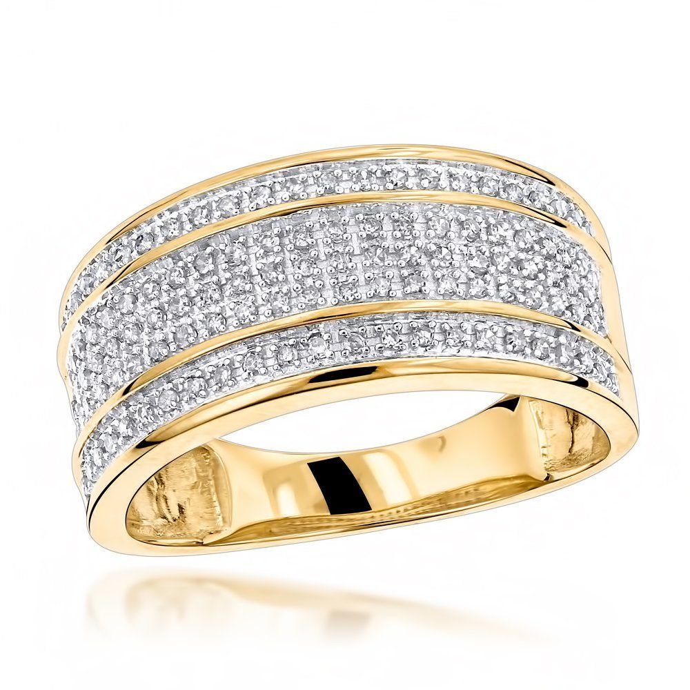 Unique Wedding Bands 10K Gold 5 Row Diamond Ring for Men | Ring ...