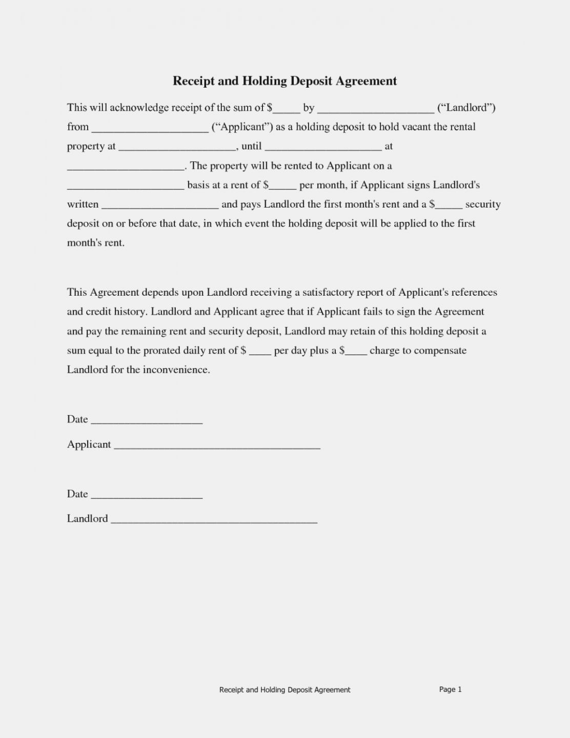 Get Our Image Of Holding Deposit Form Template For Free Deposit Being A Landlord Form