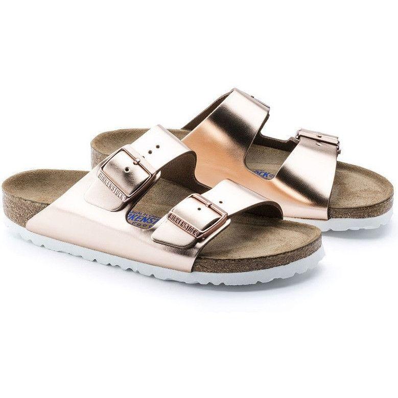 7b14c27b5246 Birkenstock Arizona Soft Footbed Leather Sandal - Metallic Copper w White