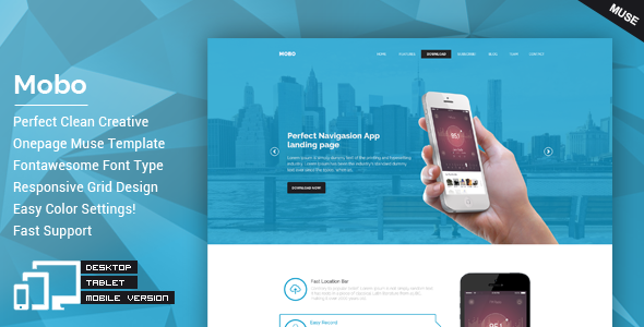 Mobo One Page Parallax Muse Theme by GokhanKara 11 May