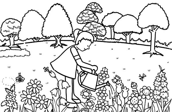 Garden Little Girl Pouring Water In Garden Coloring Pages