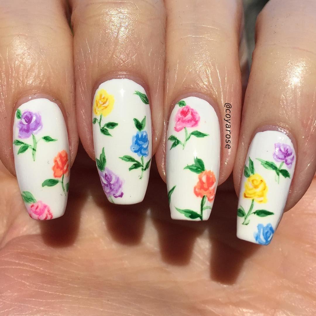 Porcelain Teacup Rose Floral Spring Vintage Nails Nail Art Nail