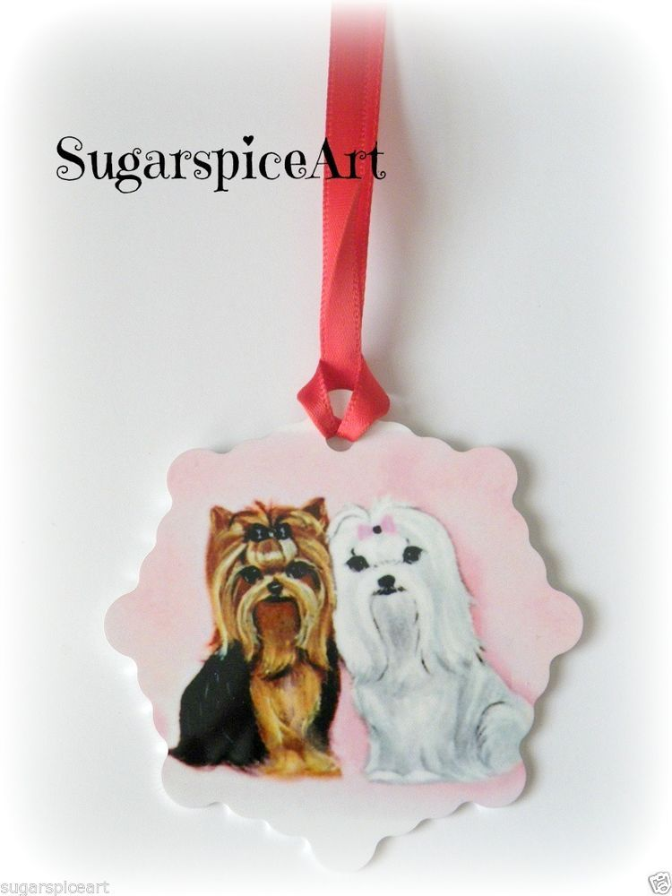 Yorkies Yorkshire Terrier Christmas Ornament Tree Decoration By
