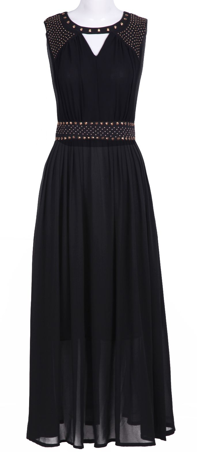 Black sleevelss cut out rivet embellished long dress my style