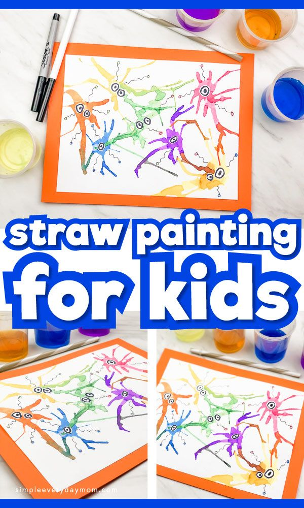 Germ Straw Painting For Kids | Children will have tons of fun making this cute germ artwork. It's a