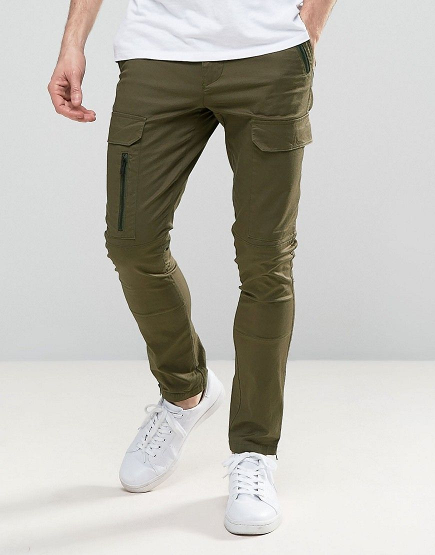 Asos Super Skinny Pants With Zip Cargo Pockets In Khaki Green Skinny Cargo Pants Mens Pants Casual Tall Pants