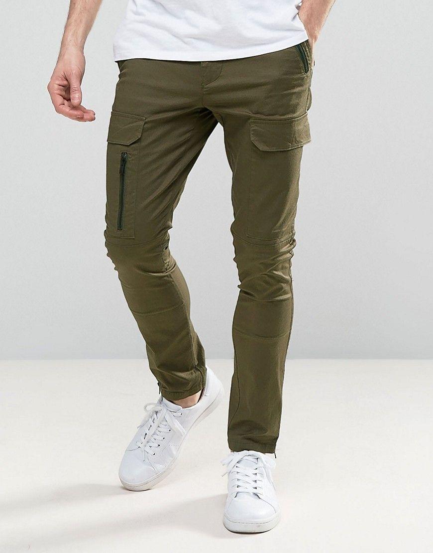 ASOS Super Skinny Pants With Zip Cargo Pockets In Khaki - Green