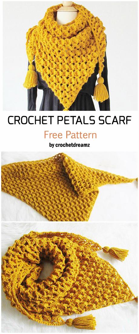 Crochet Petals Scarf - Free Pattern #crochetscarves