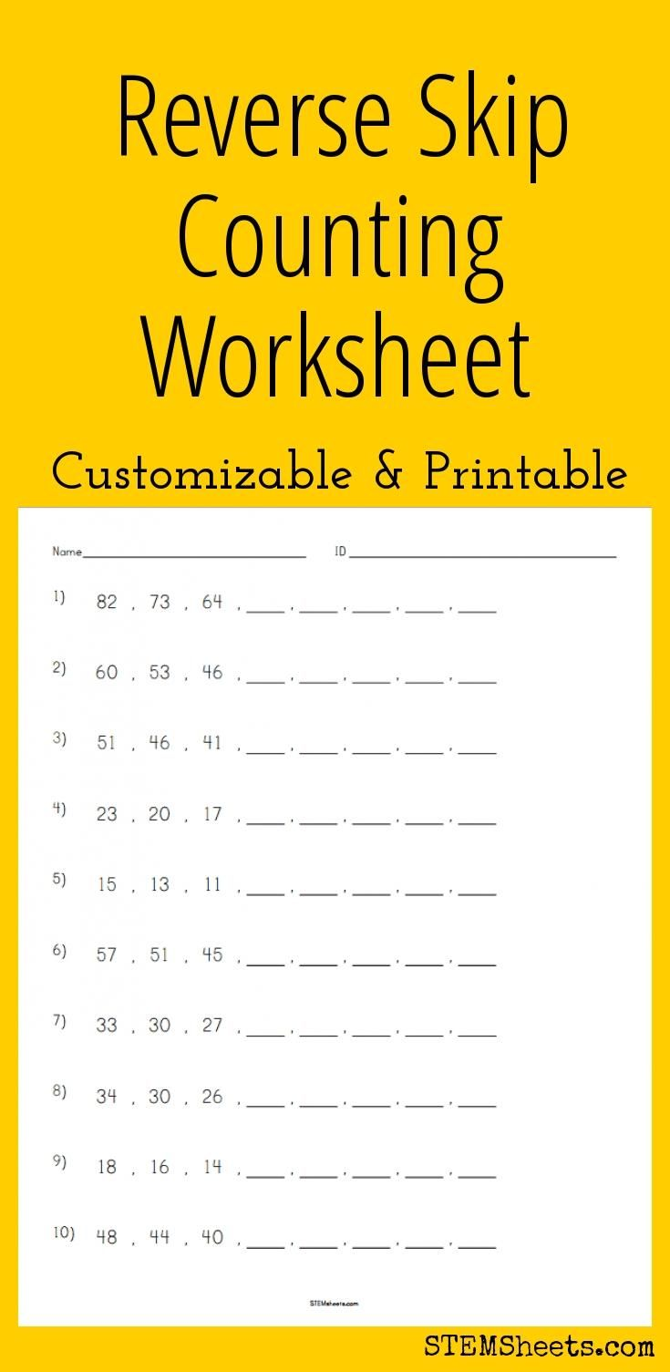 Reverse Skip Counting Worksheet - Customizable and Printable | Math ...
