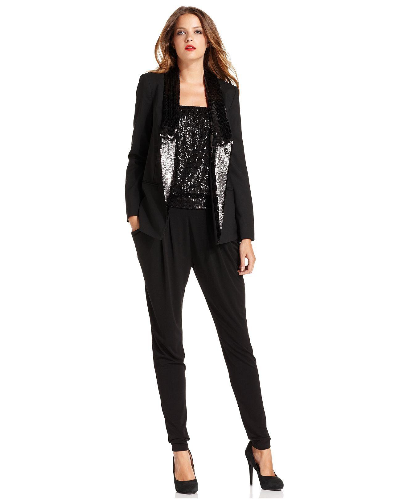 8fc5d0eef8 MICHAEL Michael Kors Sequined Tuxedo Blazer, Strapless Sequin Blouson &  Skinny Pleated Pants - Womens Tuxedo Luxe - Macy's