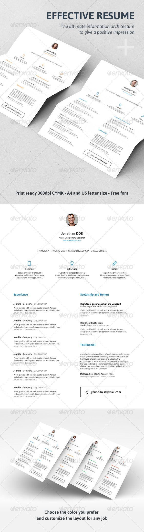 Effective Resume / CV | Resume cv, Cv template and Template