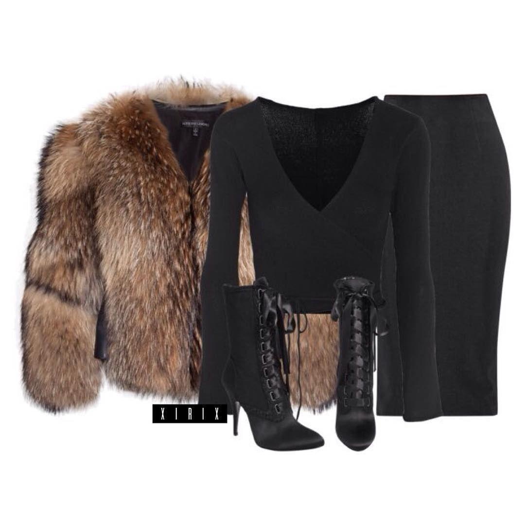 "X I R I X on Instagram: ""Adrienne Landau fur jacket ($2655), Ballet Beautiful top ($140), Cushnie Et Ochs skirt ($1040) and Giuseppe Zanotti x Balmain booties"