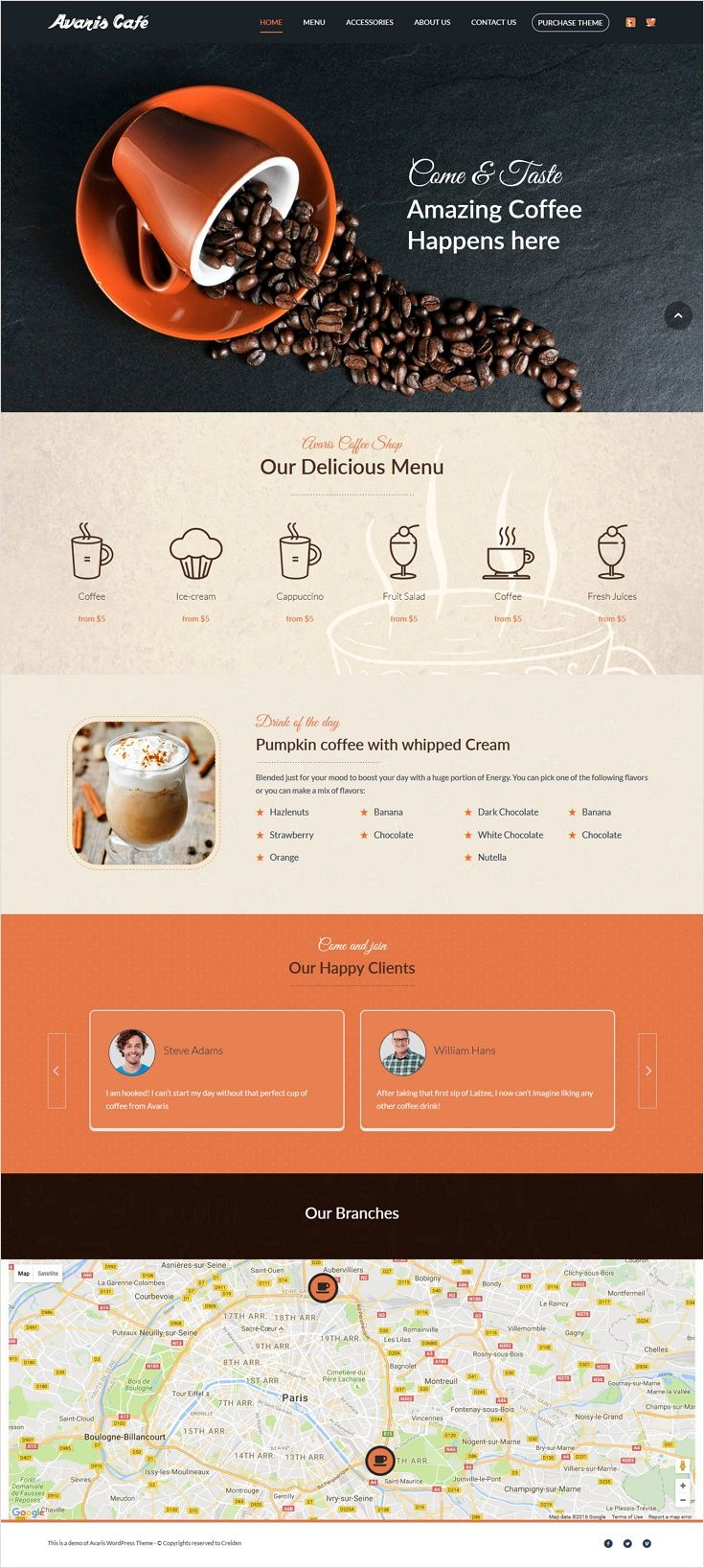 Avaris Responsive Wordpress Multipurpose Theme Cafe Website Design Website Design Inspiration Cafe Website