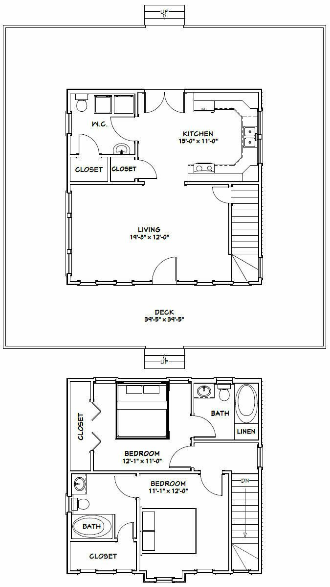 24X24 HOUSE -- 2 Bedroom 2.5 Bath -- PDF FloorPlan ...