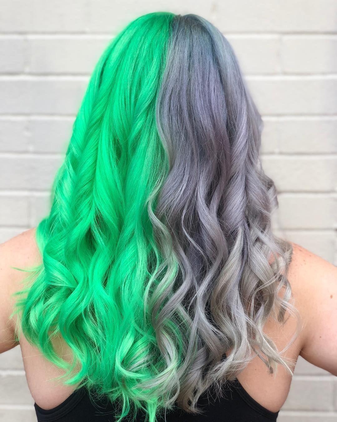 Green And Grey Hair Split Dyed Hair Dyed Hair Split Hair