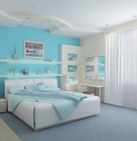 Sky blue & white bedroom | Blue Room Design Shade's ...