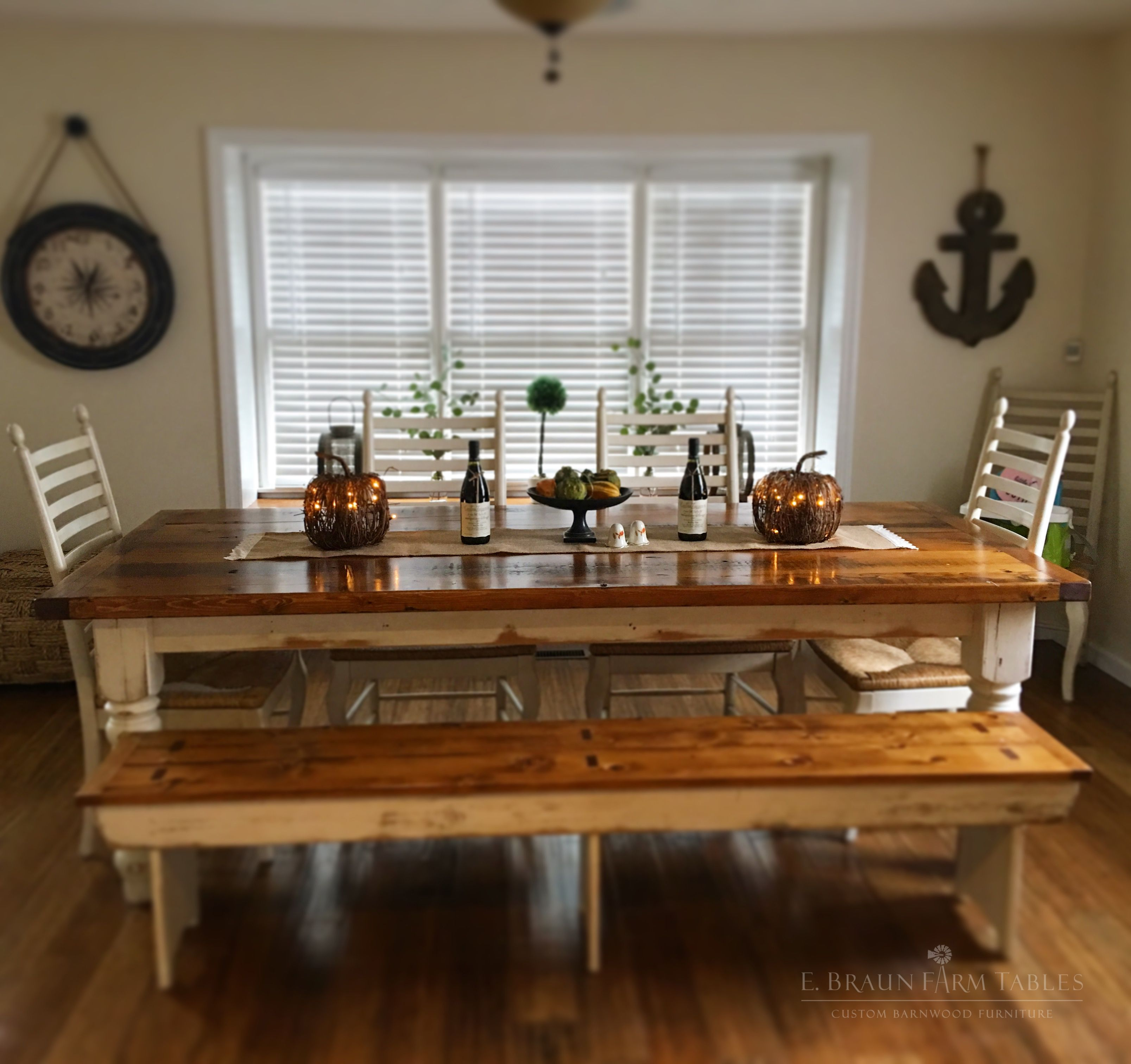 Reclaimed Barn Wood Farm Table And Matching Bench With White