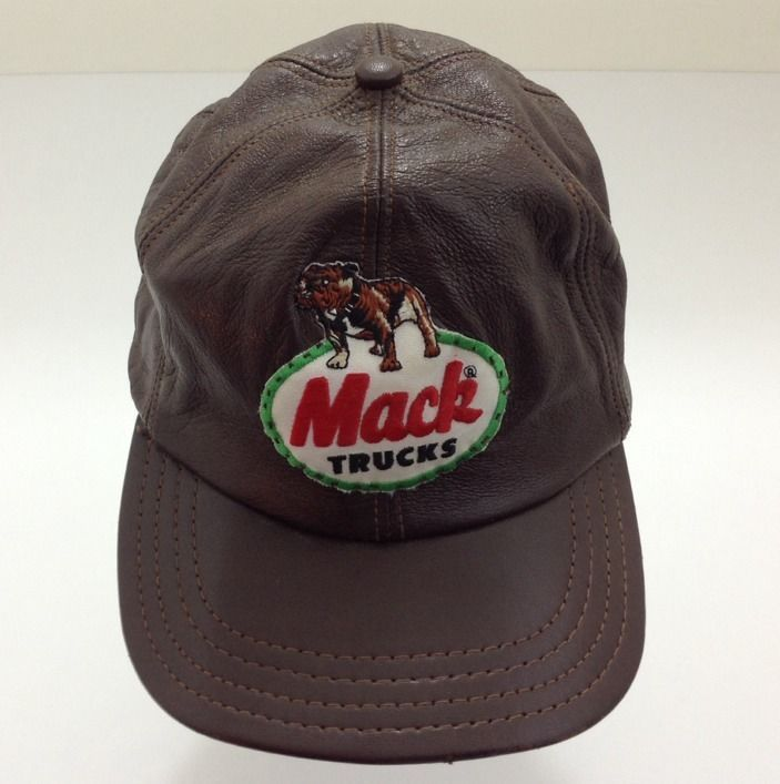 Vintage Mack Trucks Lambskin Leather Cap Hat Trucker Semi Patch Made In USA  Rare 80b504a7f3eb
