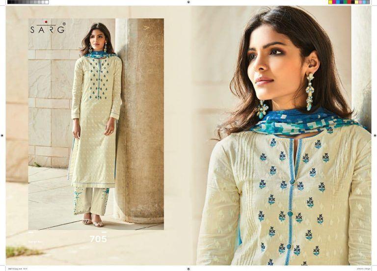 c8d2567b40 sarg queen by sahiba cotton work summer suits catalog wholesale - Krishna  Creation