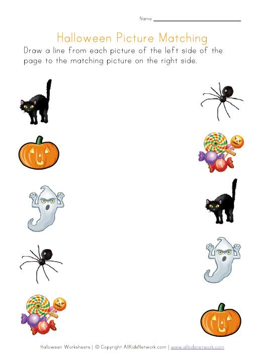 Halloween Picture Matching Printable Worksheets Halloween Worksheets Preschool Halloween Worksheets Halloween Worksheets Free Free halloween worksheets for kids