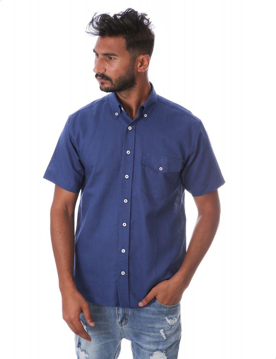 قميص بكم قصير للرجال من بي تي ام ازرق غامق Shop Mens Fashion Mens Tops Mens Fashion