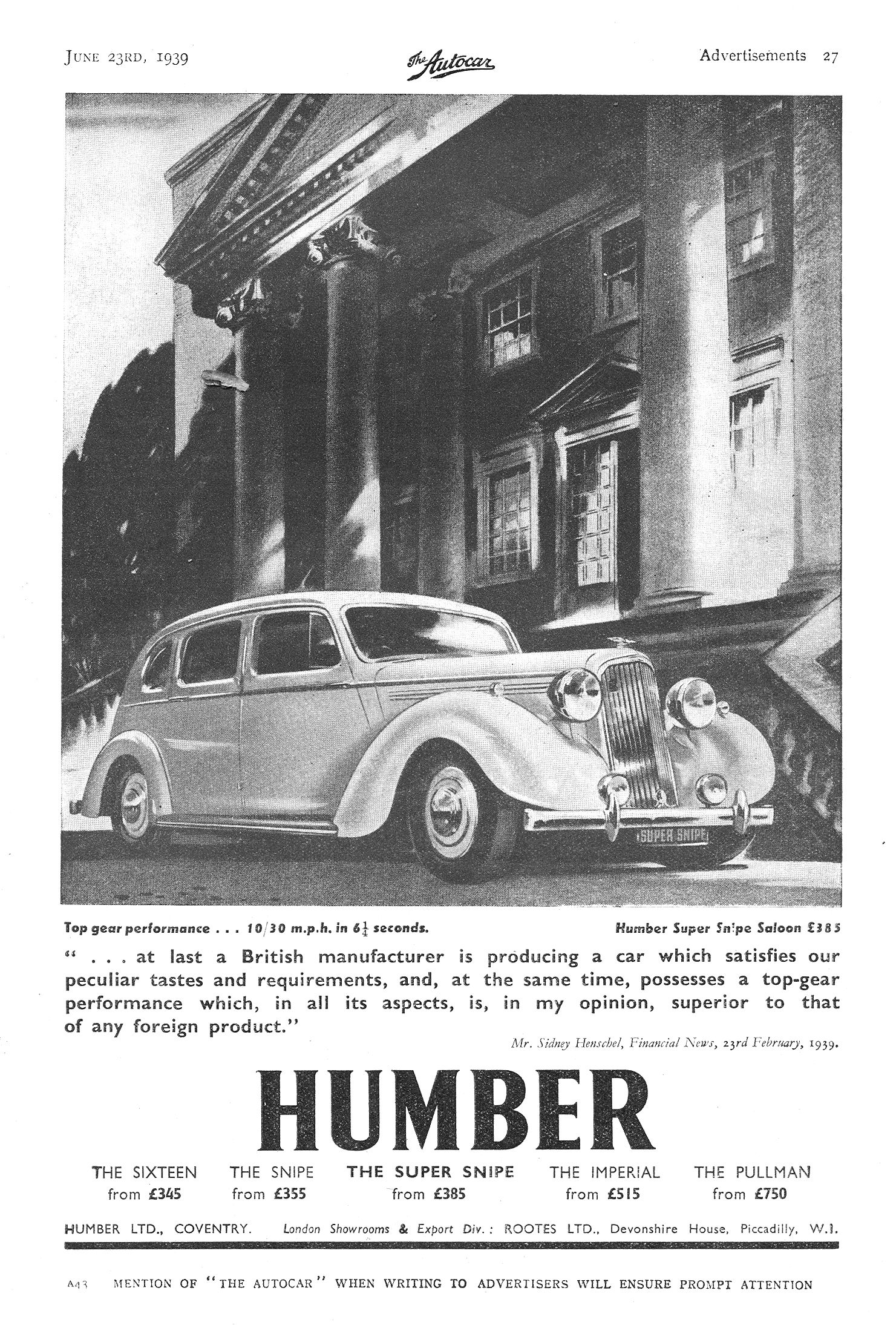 Humber Super Snipe Autocar Motor Advert 1939 Euro Cars Cars