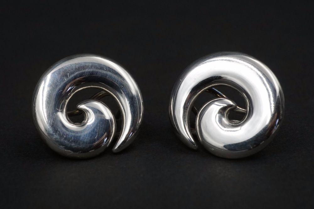 486f97f0e #Rare #Retired James Avery Sterling Silver Large Swirl Omega Back Earrings  ES916 #JamesAvery #DropDangle