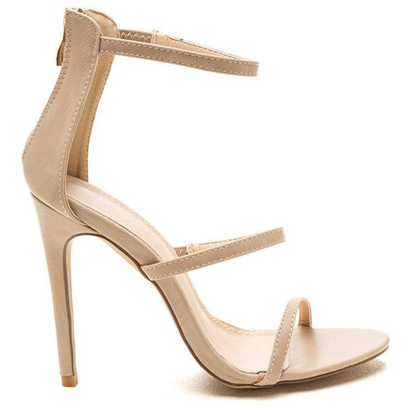 Strappy Life Single-Sole Heels NUDE ($23) ❤ liked on Polyvore featuring shoes, pumps, tan, strap shoes, tan pumps, strappy shoes, nude shoes and nude pumps