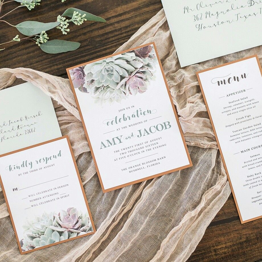 Succulent And Copper Wedding Invitations Suite By Linen And Luxe
