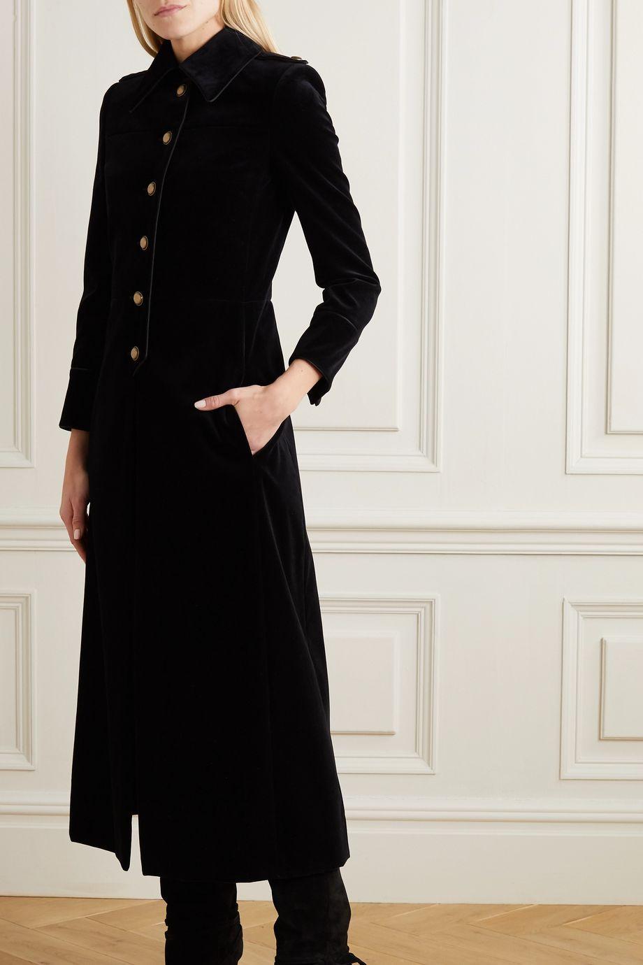 Black Piped Cotton Velvet Coat Saint Laurent Net A Porter Velvet Coat Nice Dresses Victorian Coat [ 1380 x 920 Pixel ]