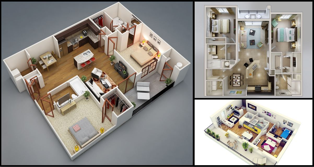 50 Two 2 Bedroom Apartment House Plans Architecture Design House Plans Small House Open Floor Plan Small House Design