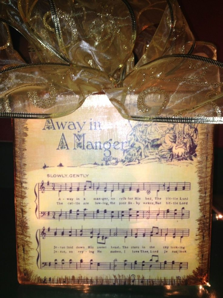 Glass Block Vintage Sheet Music Ribbon Lights Glass