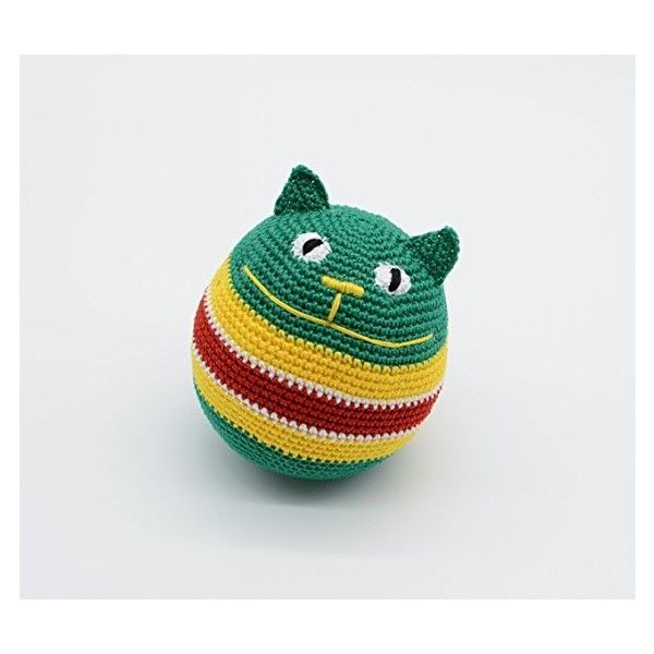 Grüne Katze, häkeln Anti Stress Ball, ausgestopfte farbige Tier... (€27) ❤ liked on Polyvore featuring home, home decor and handmade home decor
