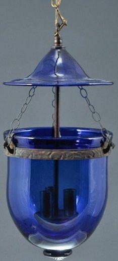 Cobalt Blue Hanging Lantern Light Fixture Bell- outside