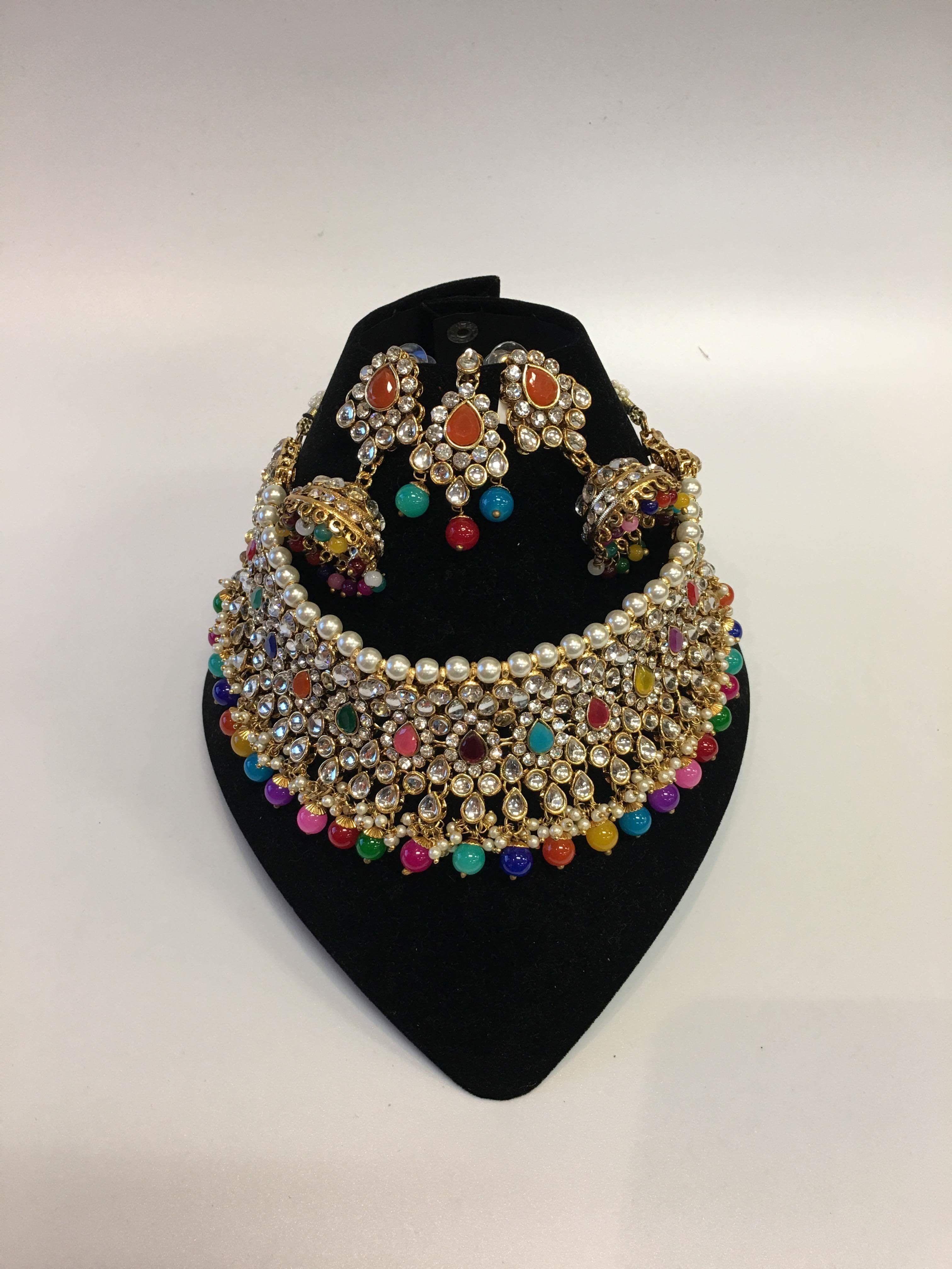 Multicolored navratna beads n kundan necklace set jewel