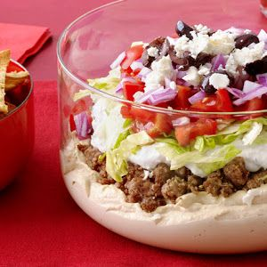 Greek Layered Dip With Pita Chips