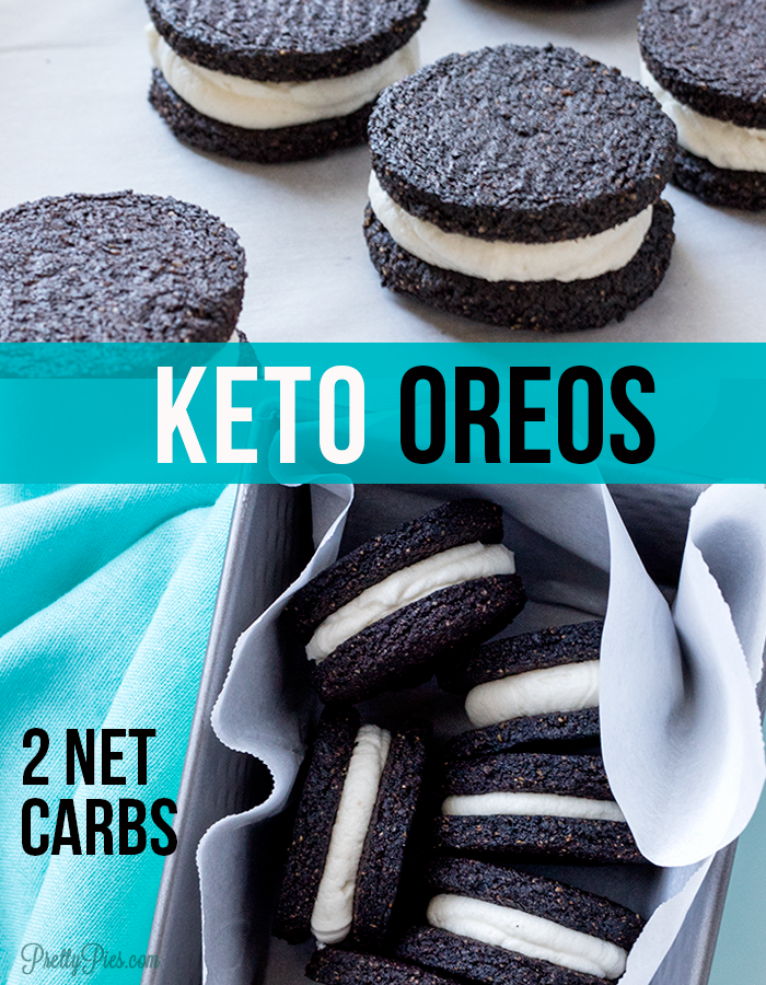 These easy, homemade Keto Oreos taste like the REAL DEAL. Deliciously crisp cookies! Amazing cream filling that doesn't squish out. Unbelievably sugar-free, gluten-free and dairy-free! 2 net carbs per Oreo (Keto, Paleo & Vegan)#prettypies