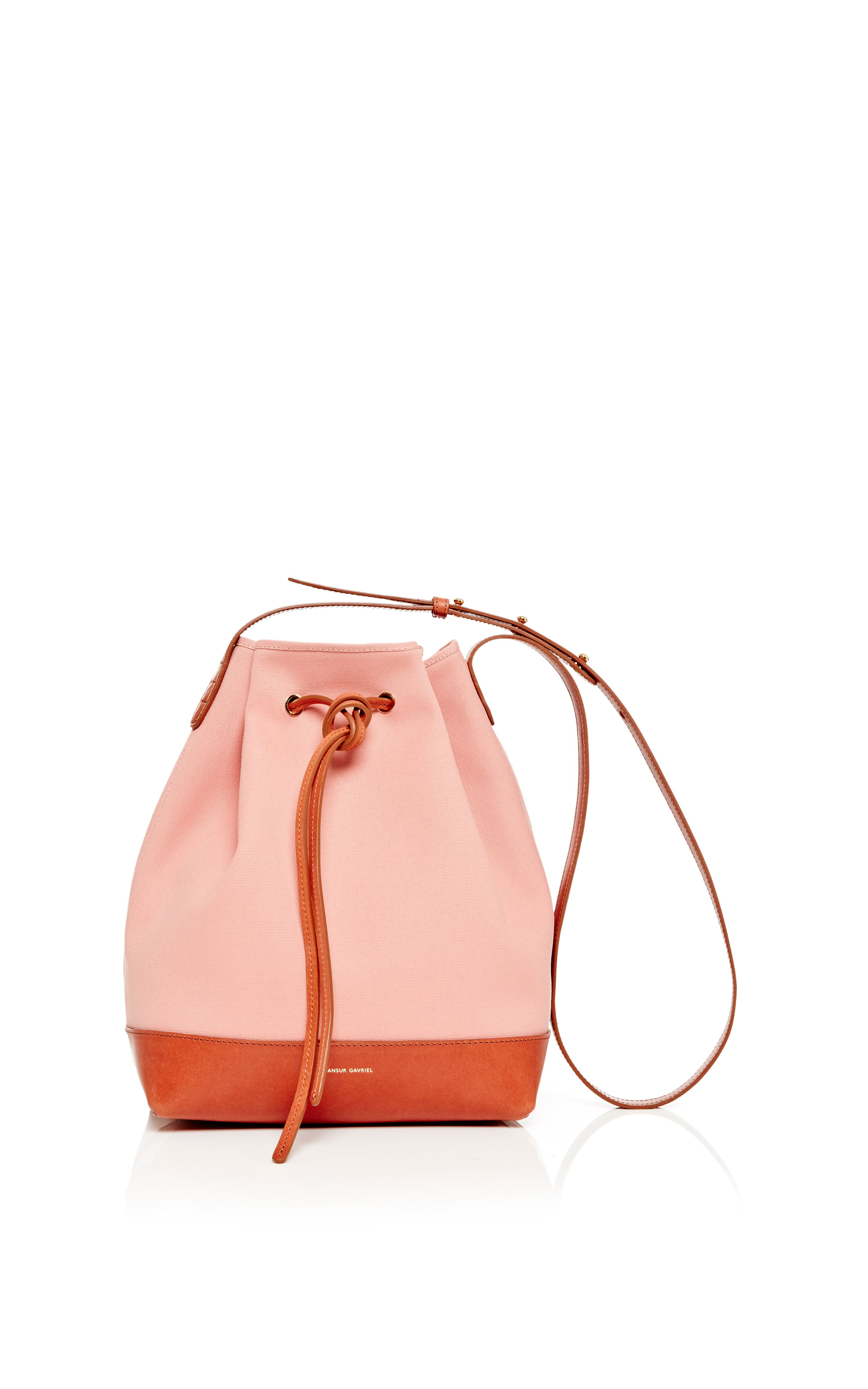 c46fb81cb Canvas Bucket Bag In Blush With Moss by Mansur Gavriel for Preorder on Moda  Operandi