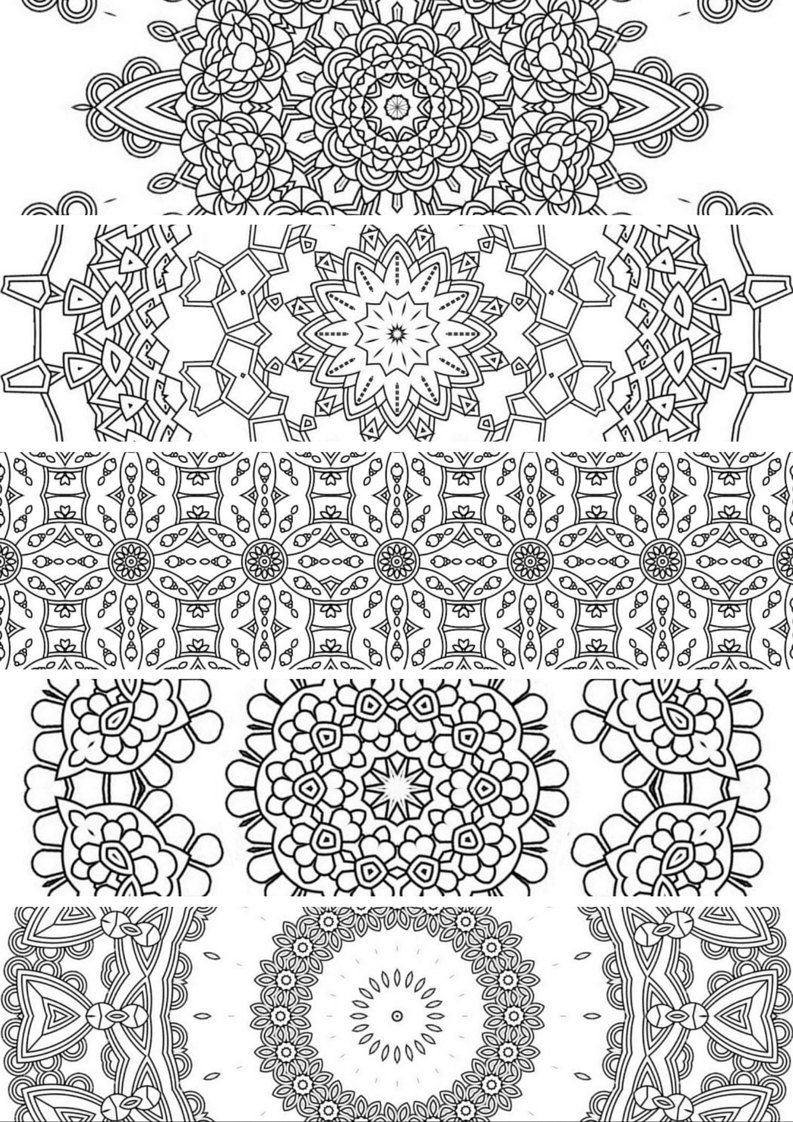 Printable coloring pages etsy - 5 Bookmarks Printable Bookmarks Instant Download Pdf Mandala Doodling Page Adult