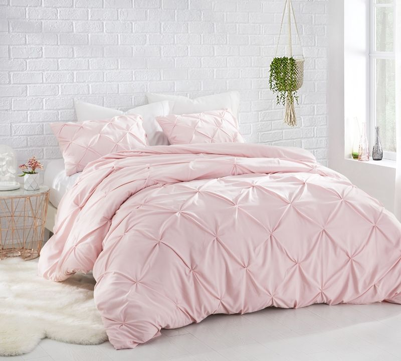 Rose Quartz Pink Oversized Queen Bedding Elegant Pin Tuck Design Unique Queen Xl Comforter Bed Comforters Luxury Bedding Pink Bedding