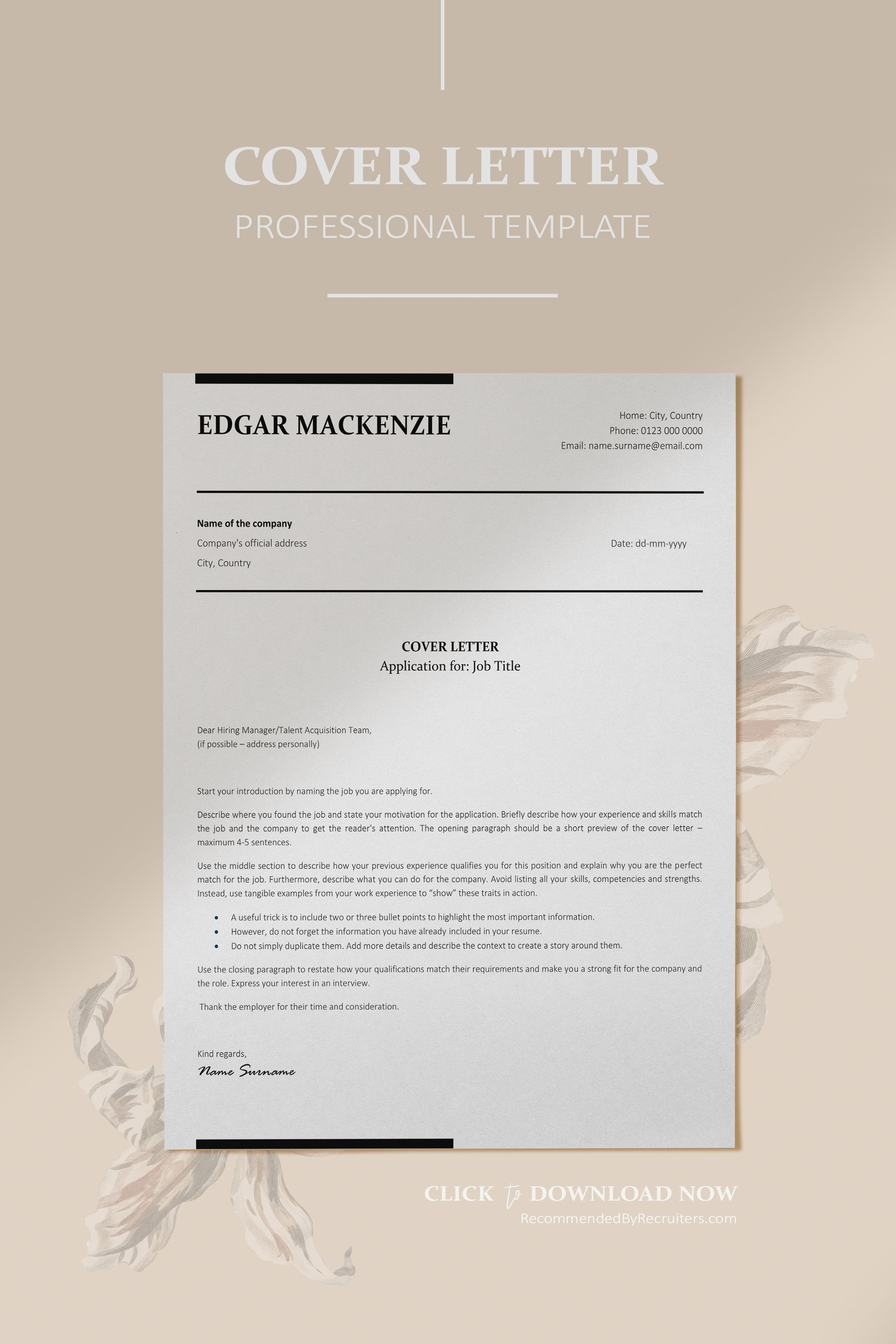 Executive Resume ATS friendly Resume Instant Download