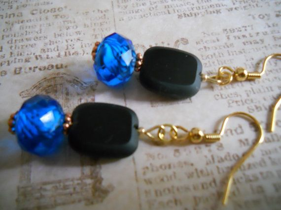 Black Earrings Black and Blue Earrings Copper by chicagolandia, $18.00