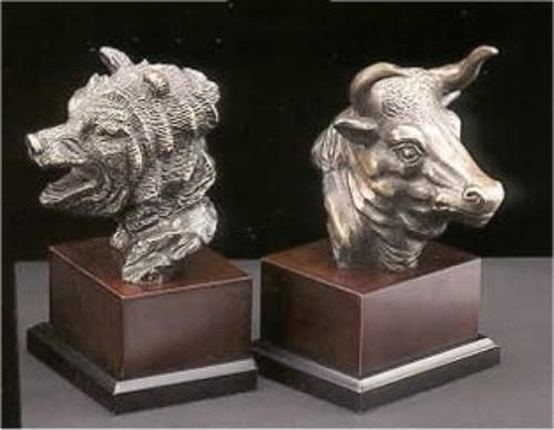 Stock Market Bear And The Bull Bookends Sculptures Office