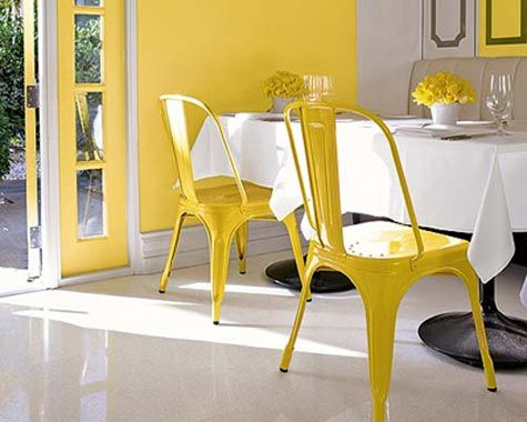 yellow steel chairs