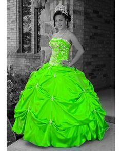 lime green and white wedding dress - Google Search   lime green ...