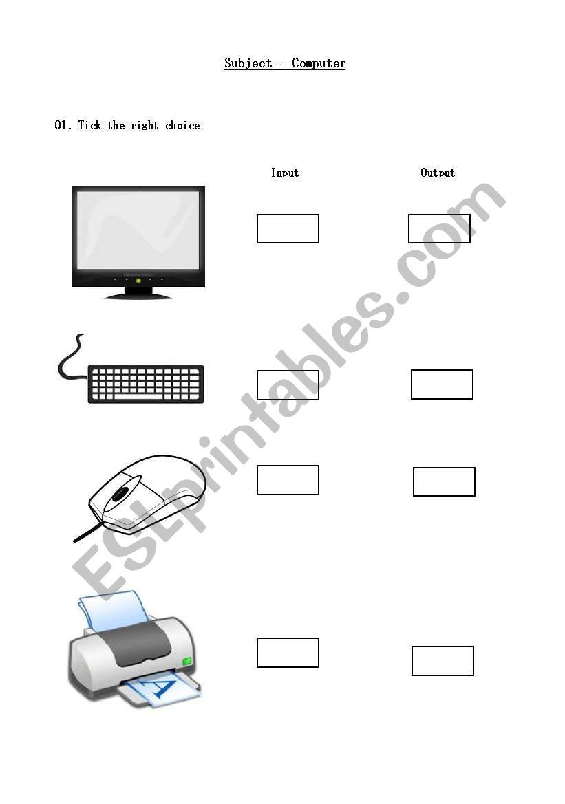 Computer input output devices worksheet   Computer lab lessons [ 1169 x 821 Pixel ]