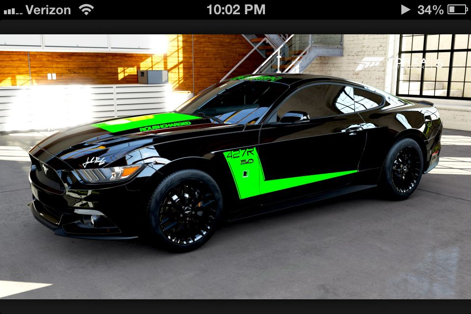 Ford Mustang 2015 Gt Black And Green Stripe Roush Mustang